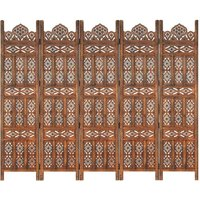 Youthup - Hand carved 5-Panel Room Divider Brown 200x165 cm Solid Mango Wood