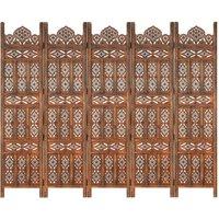 Hand carved 5-Panel Room Divider Brown 200x165 cm Solid Mango Wood - Brown