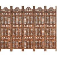 Betterlifegb - Hand carved 5-Panel Room Divider Brown 200x165 cm Solid Mango Wood17085-Serial number