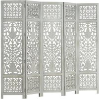 Zqyrlar - Hand Carved 5-Panel Room Divider Grey 200x165 cm Solid Mango Wood - Grey