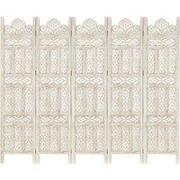 Zqyrlar - Hand carved 5-Panel Room Divider White 200x165 cm Solid Mango Wood - White