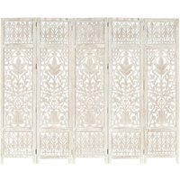 Hand carved 5-Panel Room Divider White 200x165 cm Solid Mango Wood - White - Vidaxl
