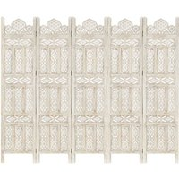 Betterlifegb - Hand carved 5-Panel Room Divider White 200x165 cm Solid Mango Wood17079-Serial number