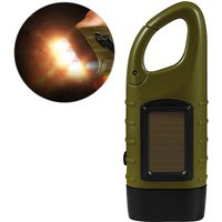 Hand Crank Solar Powered Rechargeable Flashlight LED Emergency Dynamo Torch Flashlight with Clip, Army Green