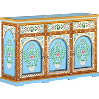 Youthup - Hand Painted Sideboard 120x35x76 cm Solid Mango Wood