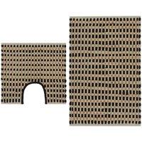 Hand-Woven Jute Bathroom Mat Set Fabric Natural and Black - Beige - Vidaxl