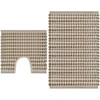 Hand-Woven Jute Bathroom Mat Set Fabric Natural and White - Beige - Vidaxl