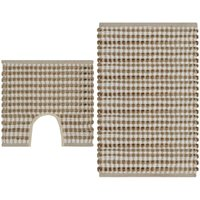 Hand-Woven Jute Bathroom Mat Set Fabric Natural and White