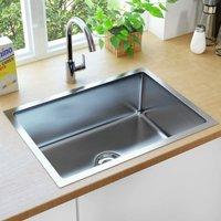 Zqyrlar - Handmade Kitchen Sink with Strainer Stainless Steel - Silver