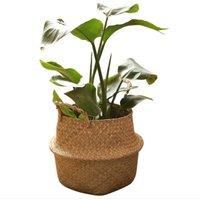 Handmade Woven Planter Round Shape Picnic Container Basket V