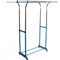Watsons - HANG - Double Adjustable Wardrobe / Clothes Hanging Storage Rail - Silver / Blue