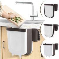 Hanging bin for kitchen or bathroom with bin bag holder for kitchen, cabinet and holder - 9 l White.