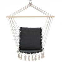 Hanging Chair Garden Outdoor 150kg Swing Hammock Rope Seat Cotton Lounger Grey - Detex