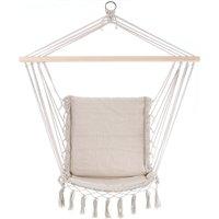 Hanging Chair Garden Outdoor 150kg DETEX Swing Hammock Rope Seat Cotton Lounger Cream
