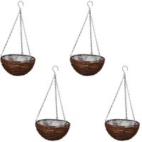 Hanging Round Willow Basket 4 pcs with Liner and Chain - VIDAXL