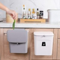 Bearsu - Hanging Trash Can with Lid for Kitchen Cabinet Door