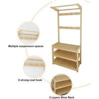 Augienb - Hat Racks Coat Hanger Stand Shelf Shoes Bench Vintage Clothes Storage Hold 60X35X170CM Wood