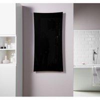 Vetro Frame Electrical 1000X500mm Glass Towel Warmer 700W Black - Heating Style