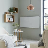 Vetro Horizontal Electrical 600X600mm Glass Rad 350W White - Heating Style