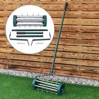 Heavy Duty Rolling Grass Lawn Garden Aerator Steel Spike Roller Aluminum Handle