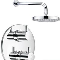 Heavy Quality Round Thermostatic Shower Valve Mixer Tap, Wall Arm and Head (SH055) - GRAND TAPS