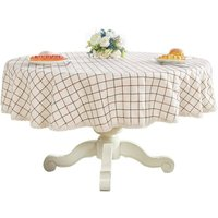 Briday - Heavy Weight Cotton Linens Lace Tablecloth Plaid Round Table Round Table for Kitchen Dining Table Decoration, 36 - Round, Champagne