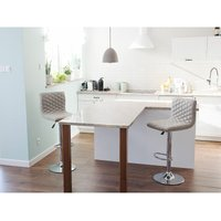 Modern Contemporary Upholstered Quilted Fabric Bar Stool Beige Orlando
