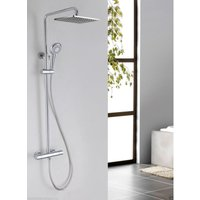 Helen Modern Square Thermostatic Twin Head Dual Control Riser Shower Mixer Tap