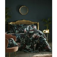 Heligan Double Duvet Cover Set Bedding Bed Quilt Set Floral Black