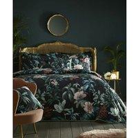 Heligan Throwover Plus Pillow Shams Set Bedspread Bedding Floral Black