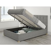Hepburn Ottoman Upholstered Bed, Eire Linen, Grey - Ottoman Bed Size Double (to fit mattress size 135x190)