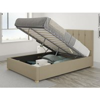 Hepburn Ottoman Upholstered Bed, Eire Linen, Natural - Ottoman Bed Size Single (to fit mattress size 90x190)