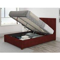 Hepburn Ottoman Upholstered Bed, Kimiyo Linen, Bordeaux - Ottoman Bed Size Double (135x190)
