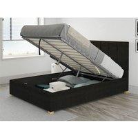 Hepburn Ottoman Upholstered Bed, Kimiyo Linen, Charcoal - Ottoman Bed Size Single (to fit mattress size 90x190)