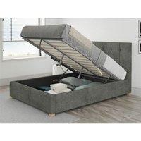 Hepburn Ottoman Upholstered Bed, Kimiyo Linen, Granite - Ottoman Bed Size Single (to fit mattress size 90x190)