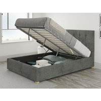 Hepburn Ottoman Upholstered Bed, Kimiyo Linen, Granite - Ottoman Bed Size Superking (180x200) - ASPIRE