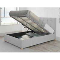 Aspire - Hepburn Ottoman Upholstered Bed, Kimiyo Linen, Silver - Ottoman Bed Size Superking (180x200)