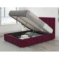 Hepburn Ottoman Upholstered Bed, Plush Velvet, Berry - Ottoman Bed Size Single (90x190)