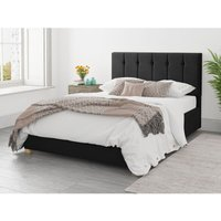 Hepburn Ottoman Upholstered Bed, Plush Velvet, Ebony - Ottoman Bed Size Double (135x190)