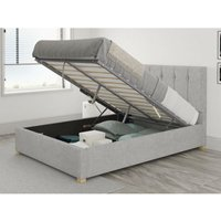 Hepburn Ottoman Upholstered Bed, Pure Pastel Cotton, Storm - Ottoman Bed Size Single (to fit mattress size 90x190)