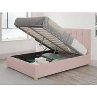 Hepburn Ottoman Upholstered Bed, Pure Pastel Cotton, Tea Rose - Ottoman Bed Size Single (to fit mattress size 90x190)