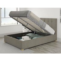 Hepburn Ottoman Upholstered Bed, Saxon Twill, Grey - Ottoman Bed Size King (150x200)