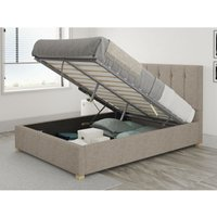 Hepburn Ottoman Upholstered Bed, Yorkshire Knit, Mineral - Ottoman Bed Size Single (to fit mattress size 90x190)