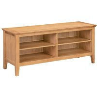 Hallowood - Hereford Oak Large Hallway Shoe Storage Bench in Light Oak Finish 8 Pairs   Solid Wooden Organiser / Cabinet / Stand /Cupboard