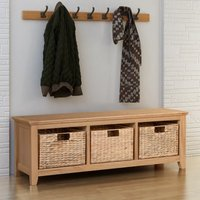Hereford Oak Hallway Shoe Storage Bench in Light Oak Finish 6 Pairs | Solid Wooden Organiser / Cabinet / Stand /Cupboard