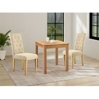 Hereford Small Kitchen Square Light Oak Dining Table Set with 2 Fabric Chairs