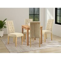 Hereford Small Kitchen Square Light Oak Dining Table Set with 4 Fabric Chairs and Wooden Leg
