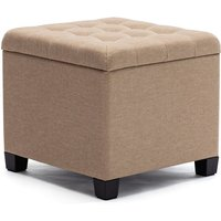 HNNHOME Pouffe Footstool Ottoman Storage Box, 45cm Cube Strong Wooden Frame Linen Living Room Foot stool, Toy Chest, Dressing Stool Seat Chair with