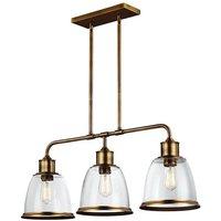 Elstead Lighting - Elstead Hobson - 3 Light Ceiling Island Chandelier Pendant Bar Light Brass, E27