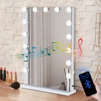 Puluomis - Hollywood Makeup Mirror with Bluetooth Speaker 15 LED Dimmable Bulb, Dressing Mirror Tabletop Vanity Mirror with 10X magnifying Mirror